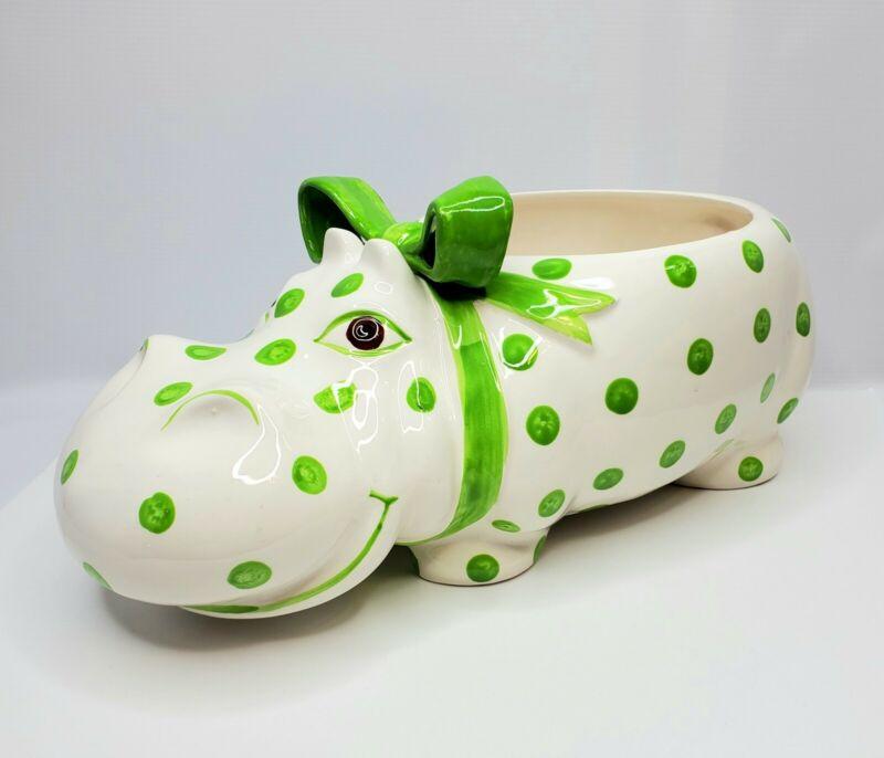 Fitz & Floyd Ceramic Hippo Planter Green Polka Dot-