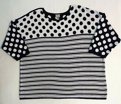 Chico's Navy Blue & White Stripes and Polka Dots Sweater Top Women's Size XL (Stripes And Polka Dots)