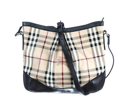 BURBERRY Black Haymarket Check Coated Canvas Hartham Crossbody Bag