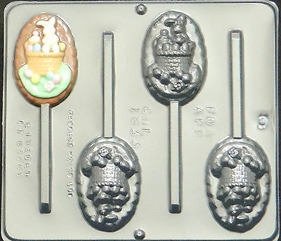 Bunny in Basket Pop Lollipop Chocolate Candy Mold Easter  1833 NEW