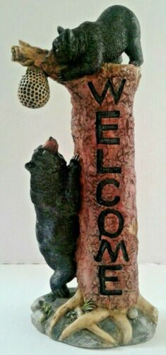 Black Bear Welcome Figurine Bears Wild Animals Zoo Wildlife Signs Outdoors Cabin