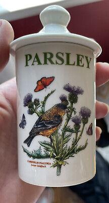 Portmeirion Botanic Garden Birds spice jar PARSLEY Goldfinch & thistle pre-owned