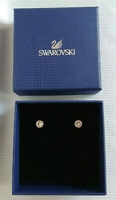 Swarovski Clear Crystal Swan Logo Pierced Silvertone Stud Earrings Signed
