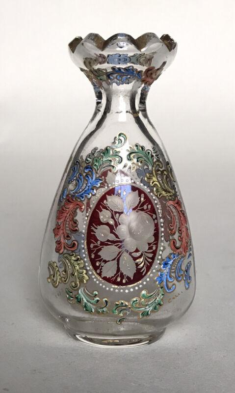 Antique Bohemian Islamic Taste Glass Perfume Bottle (Moser, Lobmeyr)