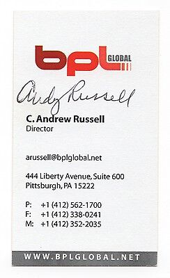 Andy Russell Signed Autographed Business Card 20005