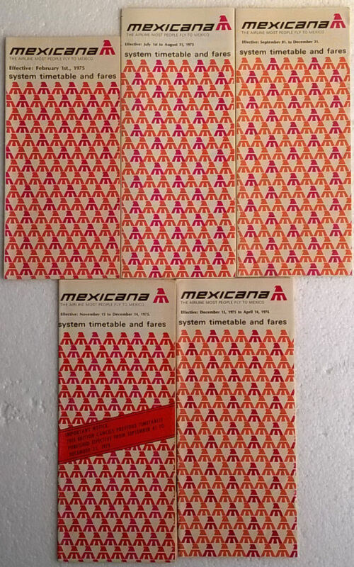 Mexicana timetable lot of 5 1975 complete year [4111] Buy 4+ save 25%