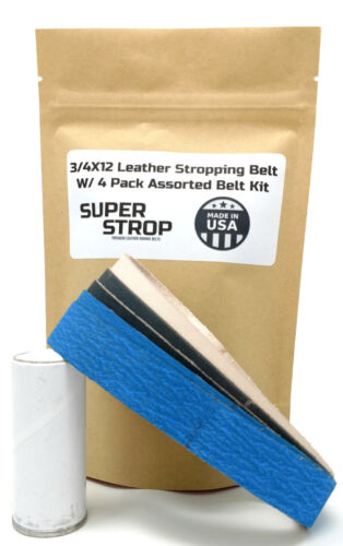 3/4X12 Inch Assorted Belt Kit With Leather Super Strop fits Ken Onion Work Sharp