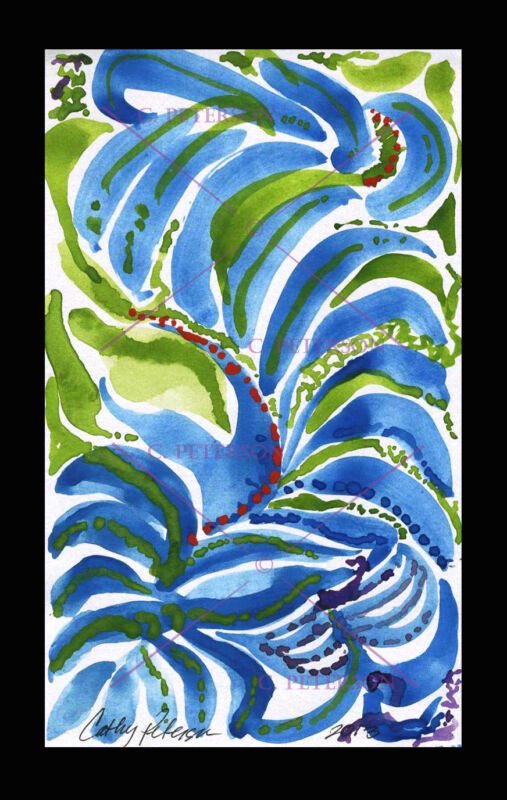 Blue Cactus Dreams ABSTRACT = Cathy PETERSON Original Watercolor PAINTING signed