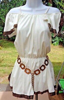 Sexy Brief La Mendola Greek/Roman Toga Costume w/Elastic Waist & Gold Belt S-M