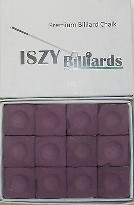 Premium Pool Table Billiard Cue Chalk 12 Pieces Purple