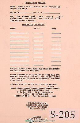 Scotchman 4014 Standard Metric Ironworker Operations And Parts Manual 1990