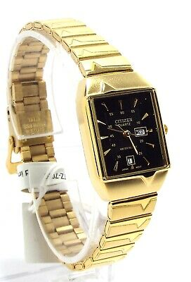 Ladies Gold Dresses (New Citizen Lady Gold-tone, Black-dial- Square Dress Watch)