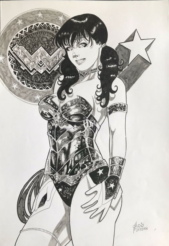 "Wonder Woman (12""x17"") Original Art By Aldio Ferreria - Ed Benes Studios"