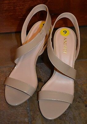 NWOT Womens' NINE WEST Tan Patent Leather Heels Shoes Size 9