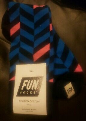 Fun Socks Mens Green Navy Blue/Pink Herringbone Crew Socks Size 10-13