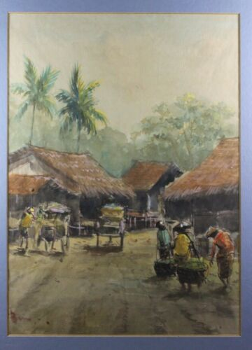 Original Vietnam Southeast Asia village landscape watercolor painting