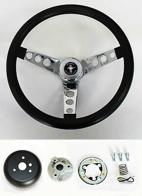 """NEW! 1965 - 1969 Mustang Black Steering Wheel Grant 13 1/2"""" with chrome spokes"""
