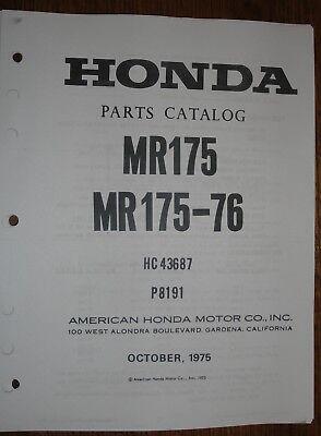 HONDA MR175 1975-76 PARTS CATALOG MANUAL PUBLISHED OCTOBER 1975