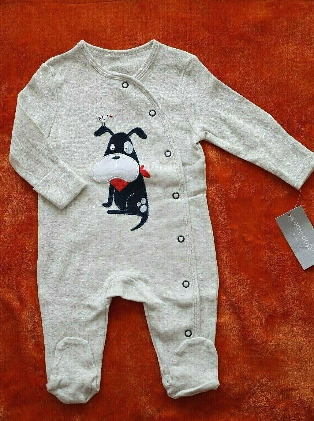 Early Days Baby Schlafanzug mit Hund Applikation Gr.62 Baumwolle Neugeborene NEU