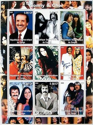 2002 MNH CONGO SONNY & CHER STAMPS SHEET SINGER ACTOR CELEBRITY FAMOUS PEOPLE