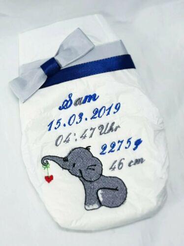Bestickte Windel*personalisiert*mit Elefanten *individuell*Geburt*Taufe*Geschenk