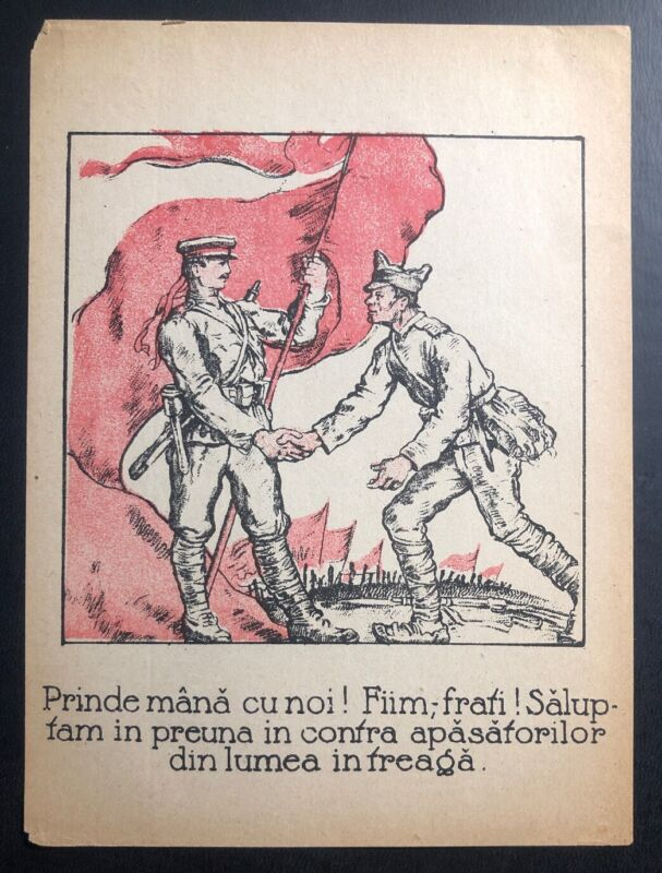 Original Germany WW1 Leaflet Drooped On Romania Pro Communist We Are Brothers
