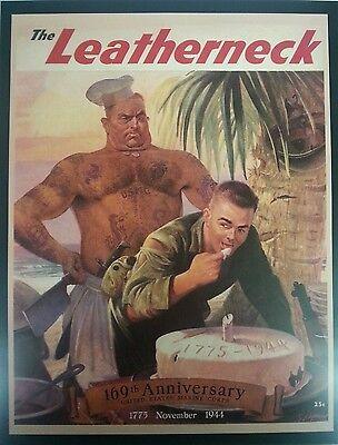 1944 Leatherneck Cover Print Bear Gay Interest Cute Marine Art