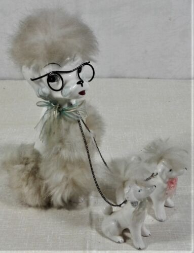 Vtg Ceramic Mother Poodle Puppies on Chain Made in Japan Fur Glasses Dog Large