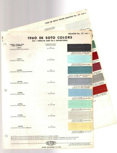 1960 DeSOTO Color Chip Paint Sample Brochure / Chart: DuPont, De Soto