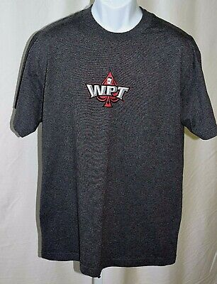 "World Poker Tour WPT Gray Official Licensed 100% Cotton Large 42"" Chest T Shirt"