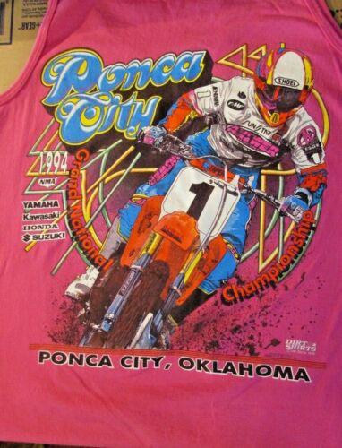 Vintage Grand National Motocross Tank Top PONCA CITY 1994 XL Dirt Shirts USA