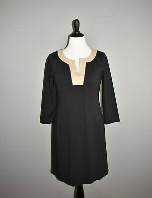 Trim Ponte Knit Dress (TALBOTS $129 Black 3/4 Sleeve Ponte Knit Dress Tan Trim Size 10)