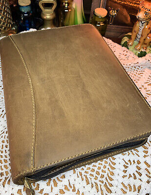 Franklin Covey Sandstone Genuine Leather Organizer Planner 19716.149 Made In Usa