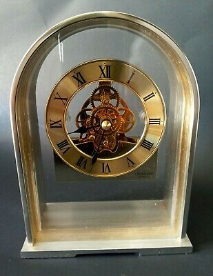 Vintage Sunbeam Quartz Brass Skeleton Clock 882-600 Desk Mantle