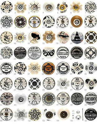 Black white grey cream vintage ceramic knobs drawer pull cupboard door porcelain