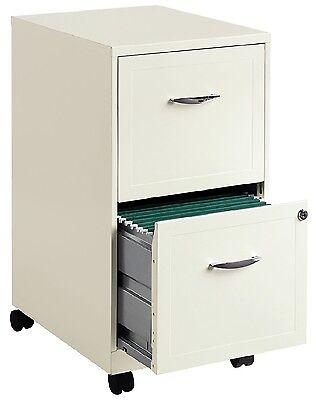 White File Cabinet 2-drawer Rolling Locking Filing Metal Steel Office