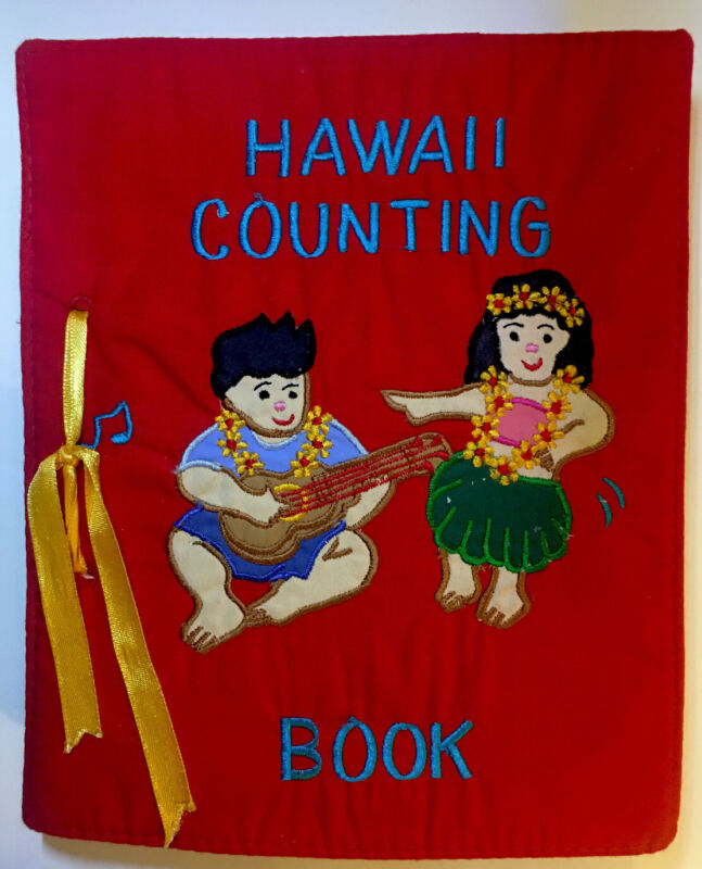 Hawaii Counting Book Cloth Baby Toddler Hula Girls Leis Ukuleles Pineapples