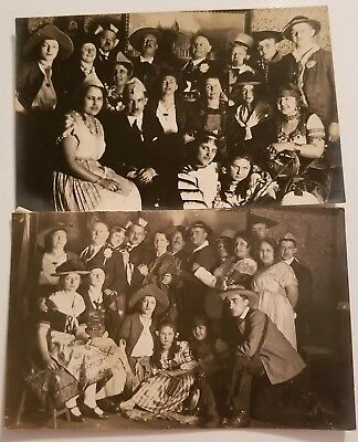 2 Antique German Real Photo Postcards Group Of People Costume Party? ](2 People Costume)