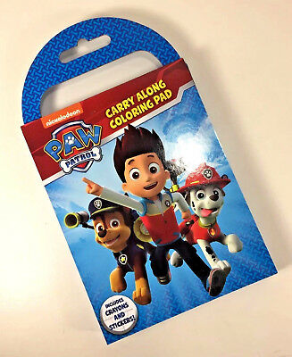 NEW Paw Patrol CARRY ALONG On-the-Go COLORING PAD Pages CRAYONS Stickers KIT ()