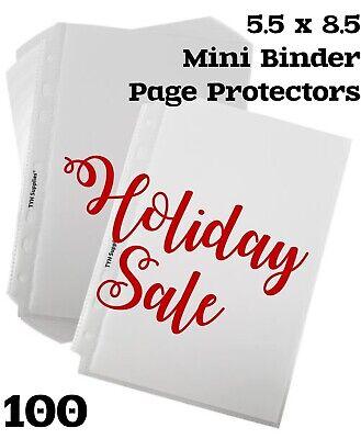 Holiday Sale- 100 Page Protectors Mini Binder 5.5 X 8.5 Economy 7-hole Sale Lot