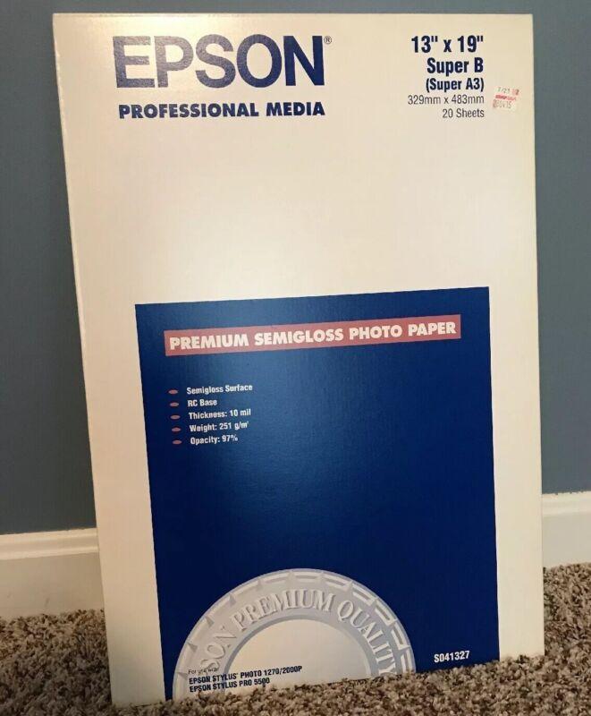 """Epson Semi-Gloss Premium Photo 11"""" x 17"""" 20-Count Paper White S041327"""