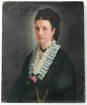 """ANTIQUE OIL PAINTING ON CANVAS """"PORTRAIT OF NOBLE WOMAN"""" dated 1876"""