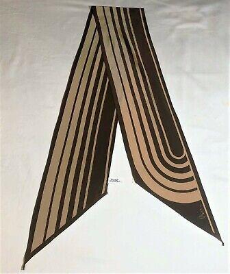 Vintage Scarf Styles -1920s to 1960s Vintage Veresa Vera 1970s 80s Scarf Geometric Choc Brown Tan Stripes 59 x 6  $12.99 AT vintagedancer.com