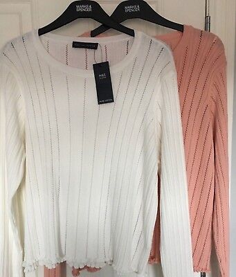 ( LADIES M&S SIZE 22 PEACH WHITE SOFT PURE COTTON RIBBED STRETCH JUMPER FREE POST)