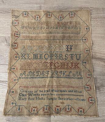 ANTIQUE 1823 19TH CENTURY STITCH WORK SCHOOL ALPHABET SAMPLER TEXTILE