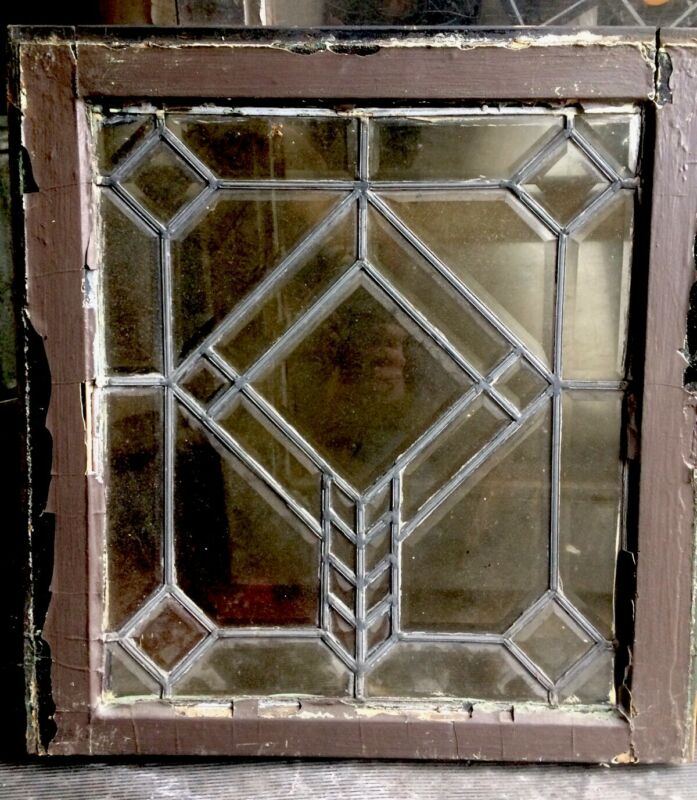 Rare Pair Old Arts & Crafts Heavy Beveled Architectural Geometric Leaded Windows