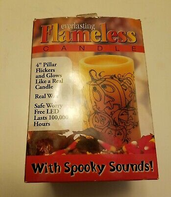 Everlasting Flameless Candle with Spooky Sounds Pumpkins Orange Halloween