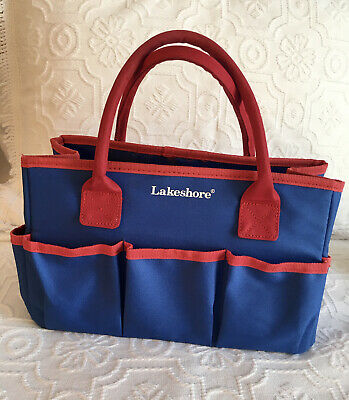 Lakeshore Desk Organizer Caddy Bin Teacher Tote Home School Red Blue Canvasec