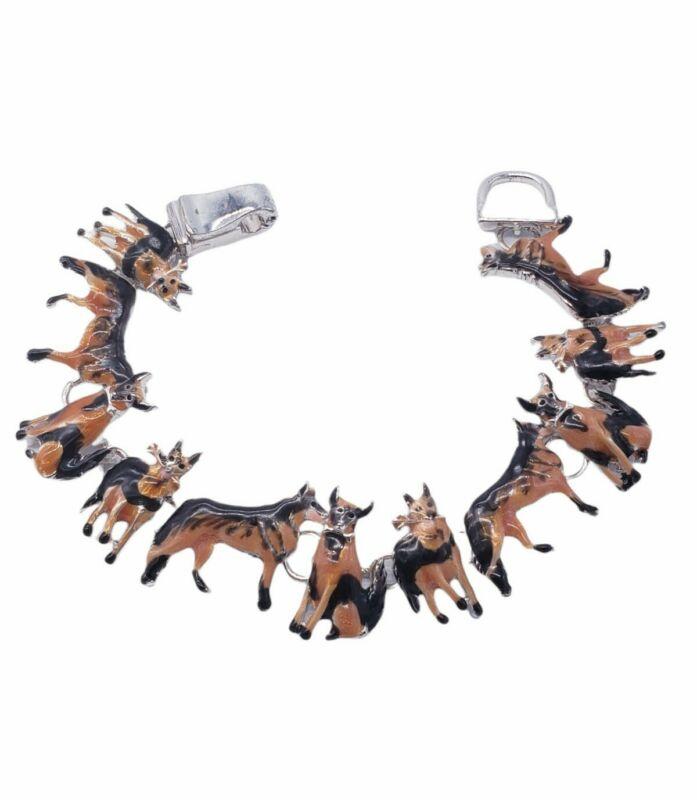 Vintage Enamel Dogs German Shepherd Link Bracelet
