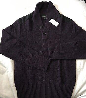 NWT Banana Republic Men's Wool Blend Shawl Sweater Small S New Purple
